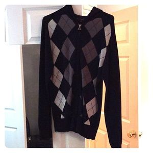 Hooded argyle zip up by GUESS